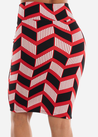 Image of Zig Zag Printed Red Pencil Skirt