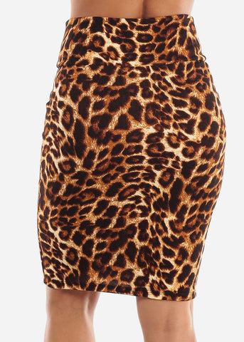 Image of High Waisted Animal Print Skirt