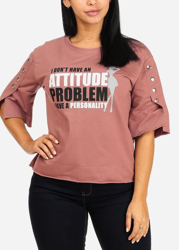 Attitude Problem Graphic Raw Hem Mauve Top