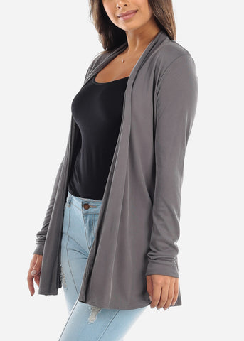 Image of Grey Open Front Cardigan with Pockets BT2332DKGRY