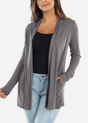 Grey Open Front Cardigan with Pockets BT2332DKGRY