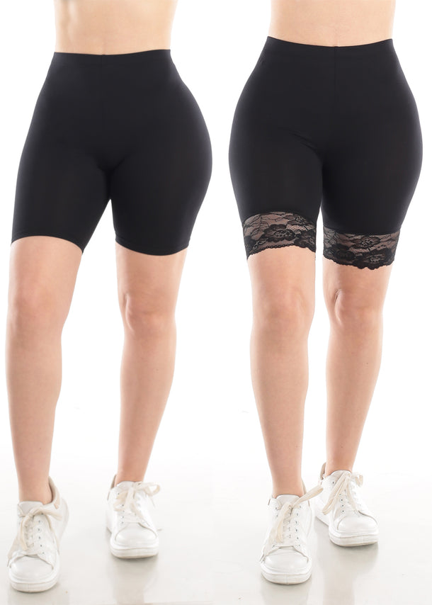 Black Biker Shorts (2 PC PACK)