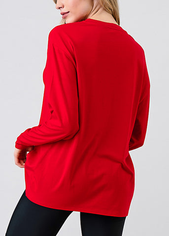 Red Long Sleeve Loose Fit Jersey Top