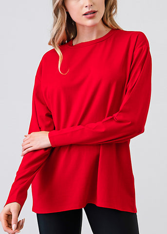 Image of Red Long Sleeve Loose Fit Jersey Top