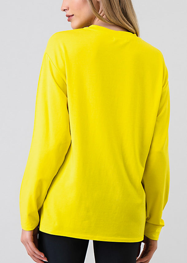Yellow Long Sleeve Loose Fit Jersey Top