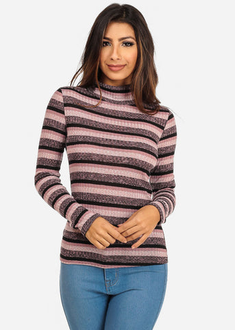 Image of Stripe Mock Neck Light Sweater (Pink)