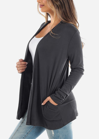 Image of Charcoal Open Front Cardigan with Pockets BT2332CHRC