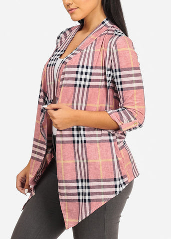 Image of Asymmetrical Pink Plaid Cardigan