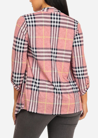 Image of Asymmetrical Pink Paid Cardigan