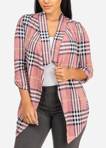Asymmetrical Pink Paid Cardigan