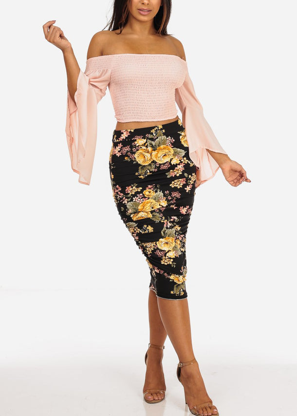 Black Floral Print Below Knee Ruched Skirt
