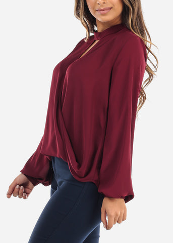 Image of Wine Keyhole Wrap Front Blouse G9130WINE