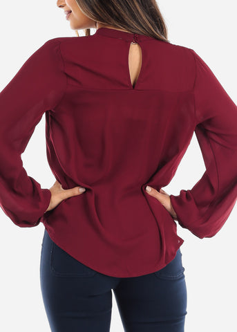 Image of Wine Keyhole Wrap Front Blouse
