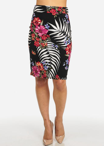 Image of Black Floral Knee Length Skirt