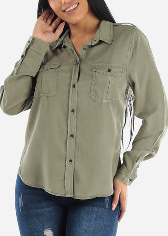 Olive Long Sleeve Button Down Shirt