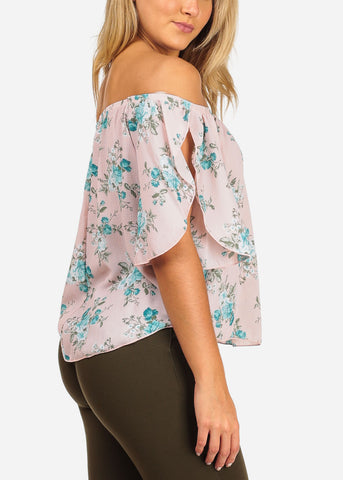 Image of Women's Junior Ladies Going Out Beach Vacation Brunch Lightweight Off Shoulder Light Pink Blouse With Floral Print Top