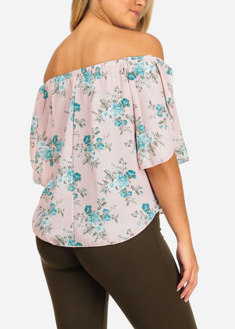 Women's Junior Ladies Going Out Beach Vacation Brunch Lightweight Off Shoulder Light Pink Blouse With Floral Print Top