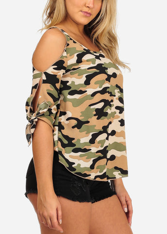 Image of Women's Junior Ladies Open Cold Shoulder Lightweight Camouflage Beige Top