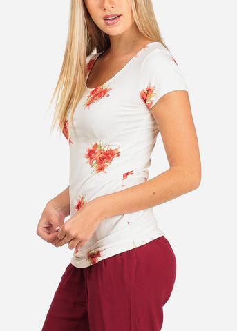 Women's Junior Casual Summer Trendy Floral Flower Print Short Sleeve White Top