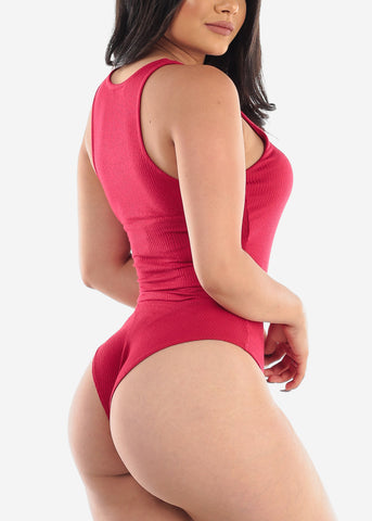 Sleeveless Ribbed Red Bodysuit