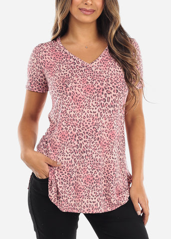 Pink Animal Print V-Neck Shirt