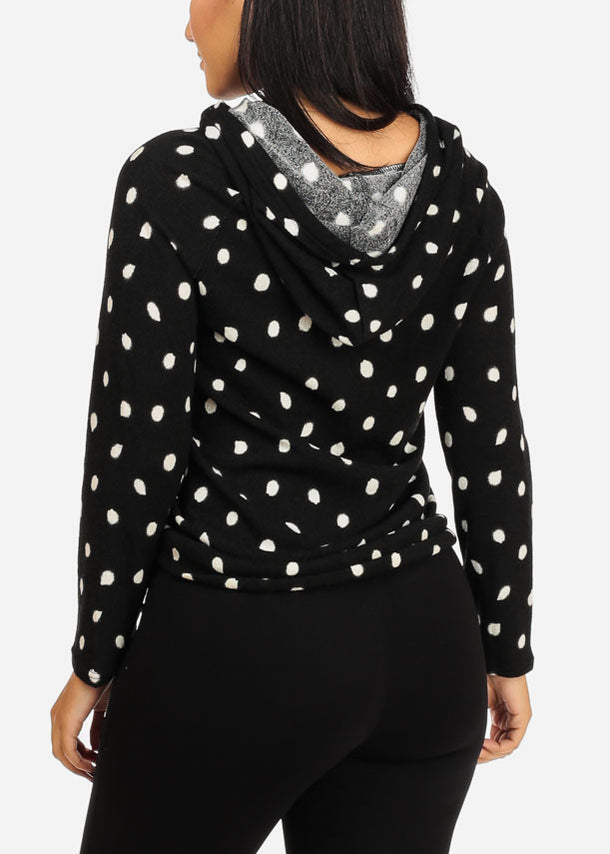 Polka Dot Sweater Top W Hood