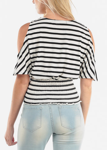 Image of Cold Shoulder White Stripe Top