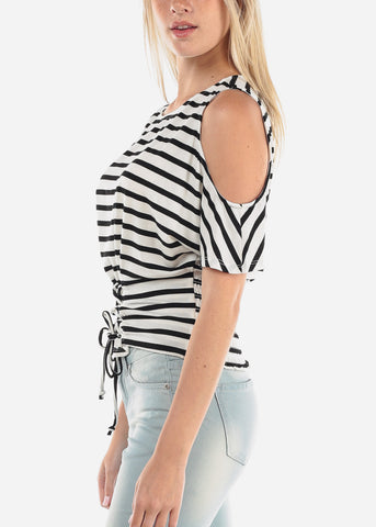 Cold Shoulder White Stripe Top