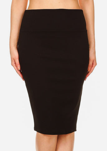Image of High Waisted Black Pencil Skirt