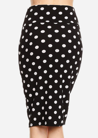 Image of High Waisted Black Polka Dot Skirt