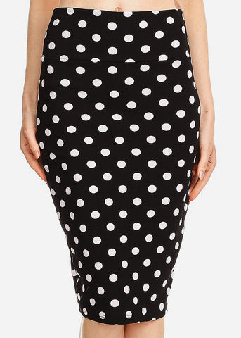 High Waisted Black Polka Dot Skirt