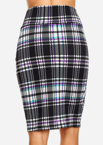 Image of Plaid Printed Black Pencil Skirt