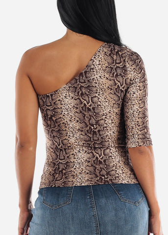 Image of One Shoulder Sleeve Animal Print Top