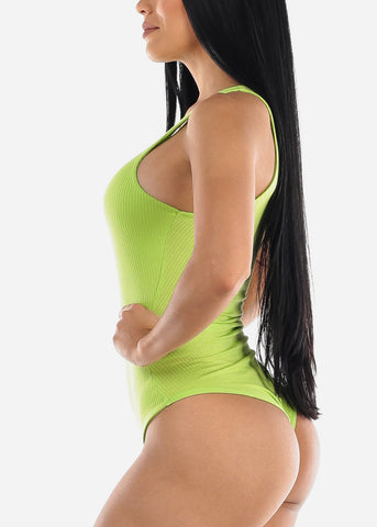 Sleeveless Neon Green Bodysuit