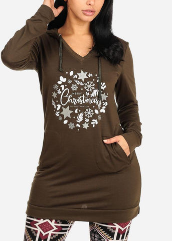 Merry Christmas Graphic Long Sleeve V Neckline Olive Tunic Sweater Top