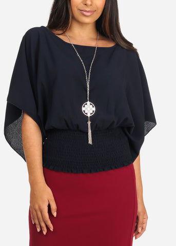 Women's Junior Ladies Lightweight Round Neckline Elastic Waist Line Navy Dressy Blouse Top With Necklace