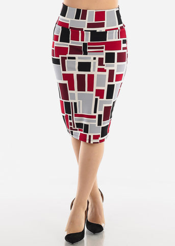 Image of Wine Multicolor Printed Pencil Skirt