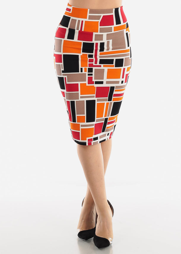 Orange Multicolor Printed Pencil Skirt