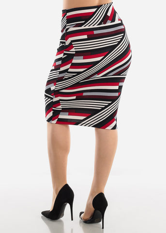 Black Multicolor Printed Pencil Skirt