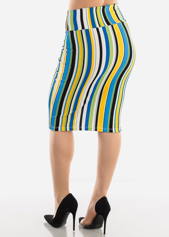 Image of Blue Multicolor Stripe Pencil Skirt