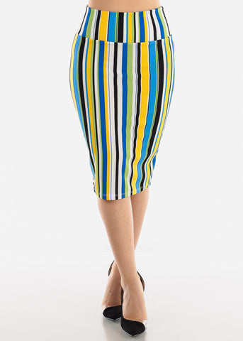 Blue Multicolor Stripe Pencil Skirt