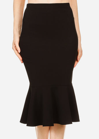 Image of High Waisted Black Peplum Skirt