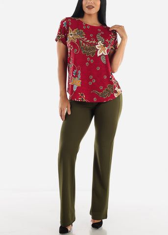 Image of Burgundy Floral Top