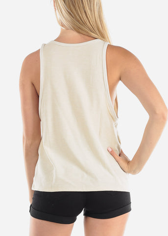 Wife Mom Boss Graphic Print Sleeveless Loose Fit Cream Top  To Go Out Vacation Trip