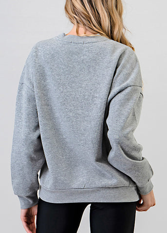 Heather Grey Fleece Sweatshirt