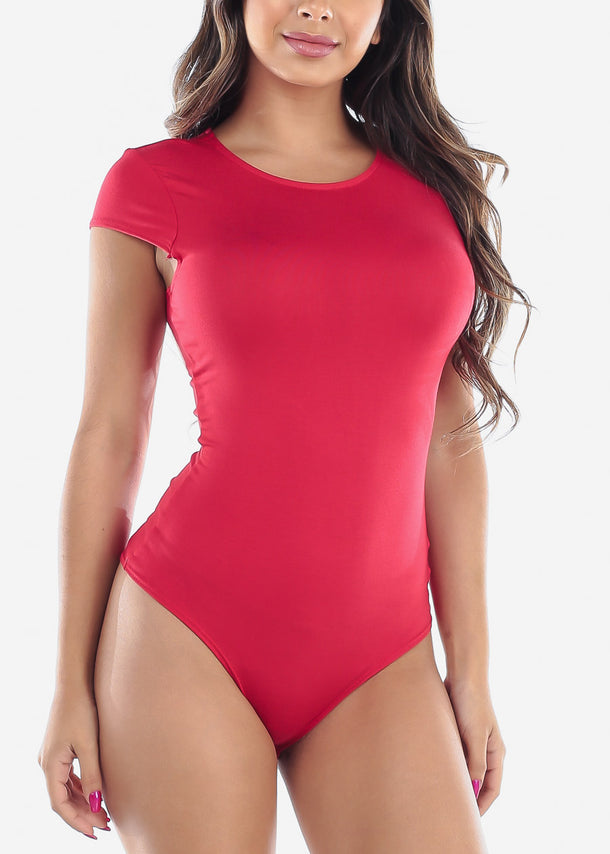 Cute Stylish New Trend 2019 Hot New Red Sexy Casual Short Sleeve Stretchy Bodysuit