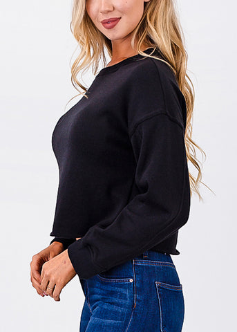 Image of Raw Hem Black Cropped Pullover
