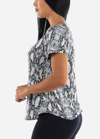 Image of Blue Snake Print Top