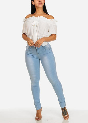 Affordable White Off-Shoulder Elastic Detail Top