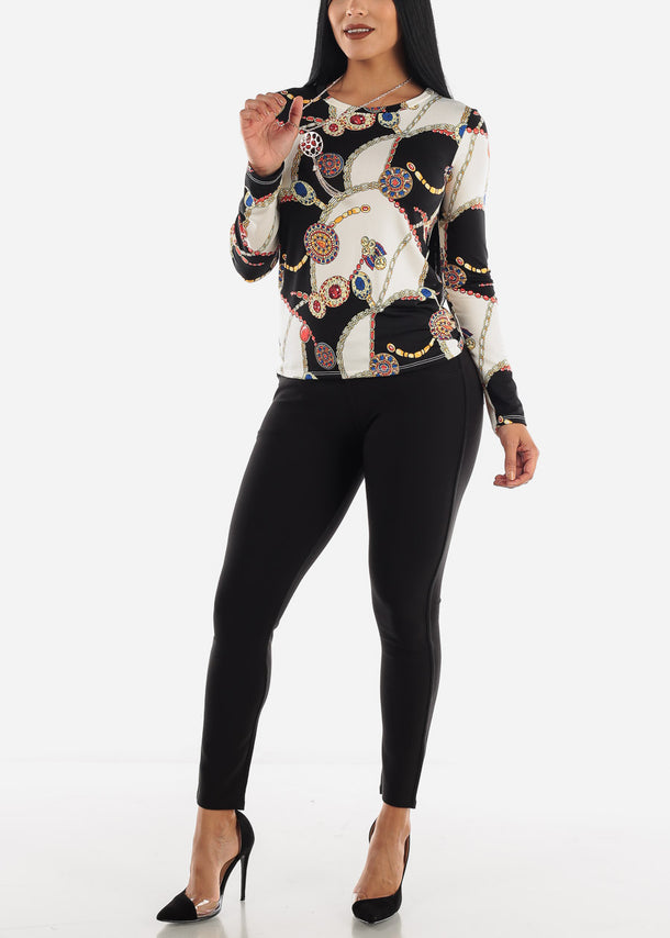 Black & Ivory Printed Top